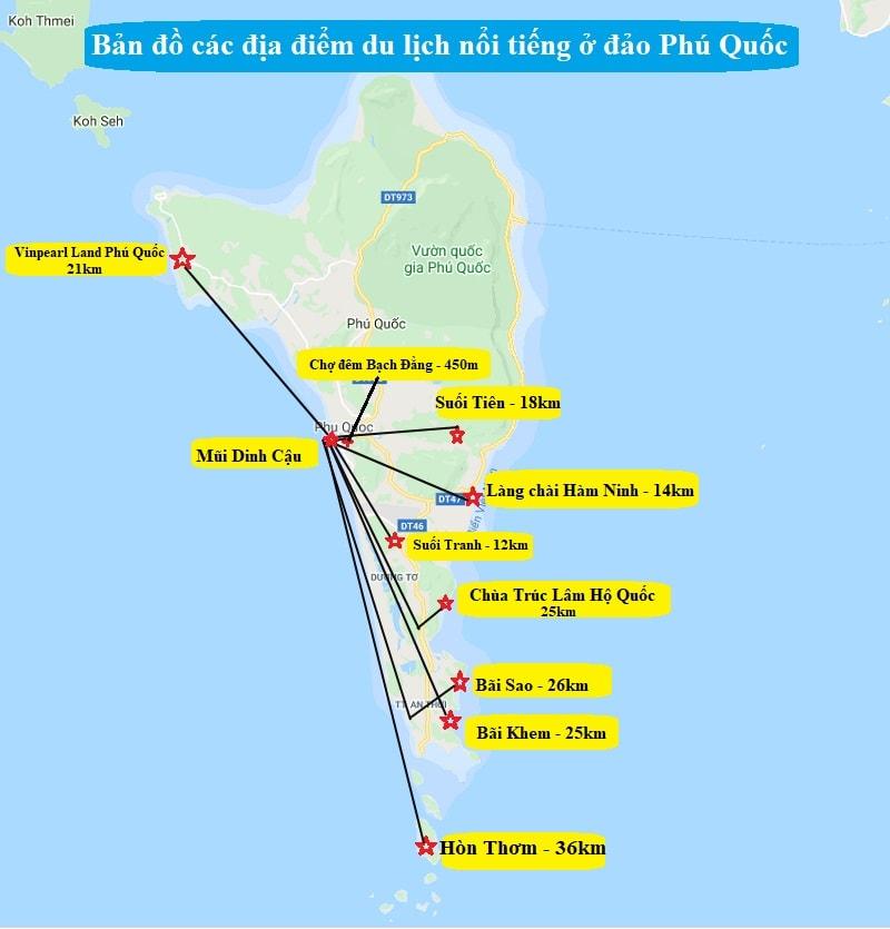 Bản đồ du lịch Phú Quốc về địa điểm tham quan nổi tiếng. Bản đồ các điểm tham quan ở Phú Quốc