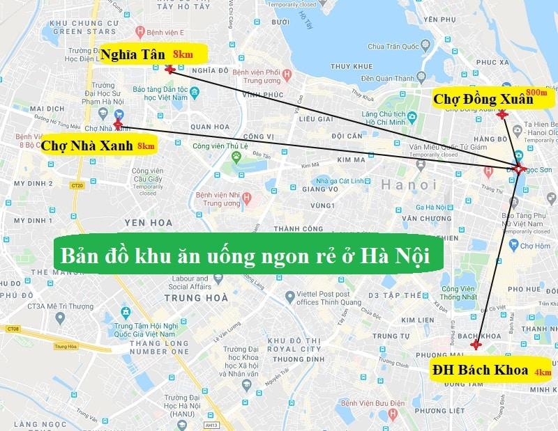 Bản đồ địa điểm du lịch Hà Nội về các khu ăn uống? Bản đồ địa điểm ăn uống ở Hà Nội