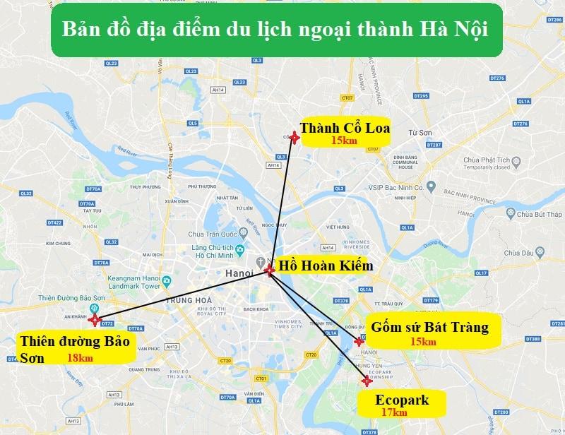 Bản đồ địa điểm du lịch ngoại thành Hà Nội. Bản đồ du lịch Hà Nội về các điểm tham quan ngoại thành