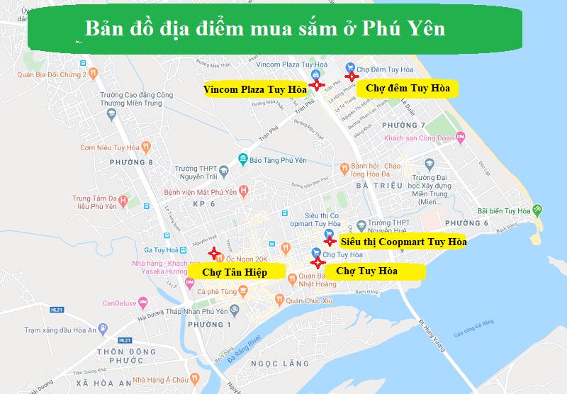 Bản đồ du lịch Phú Yên về địa điểm mua sắm