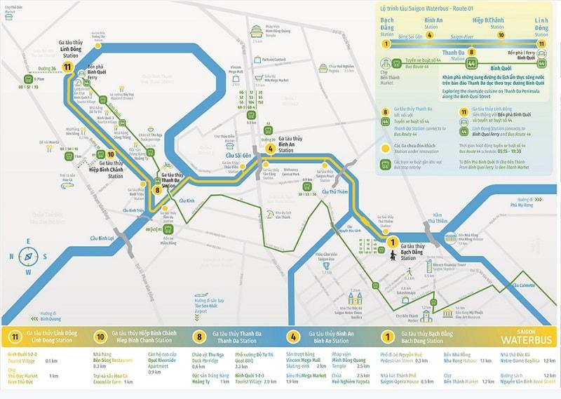 Lịch trình xe điện kết nối với buýt sông Sài Gòn