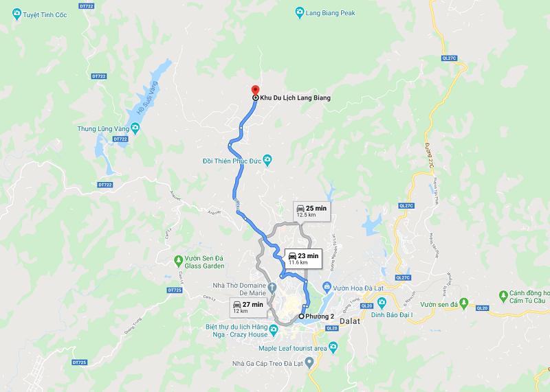 Hướng dẫn đường đi núi Langbiang