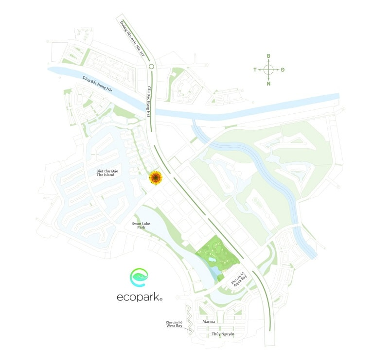 Cách đồng hoa hướng dương ở khu đô thị Ecopark
